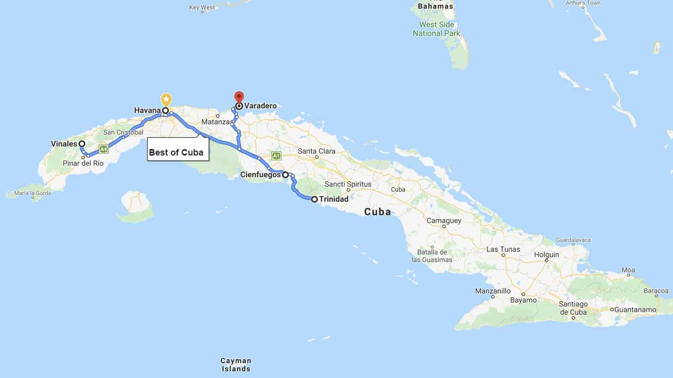 Best of Cuba itinerary on the map