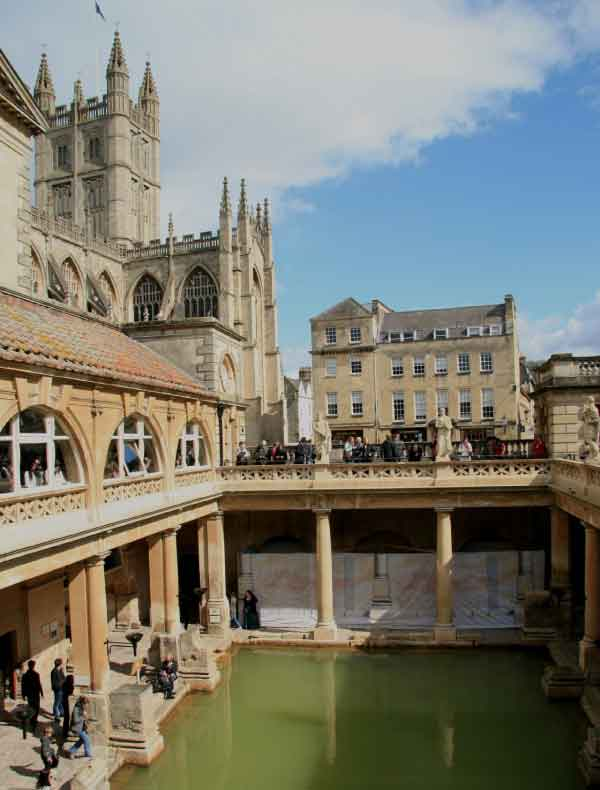 The Romans took advantage of the area's natural hot springs by building the majestic Roman Baths, now a UNESCO heritage site.