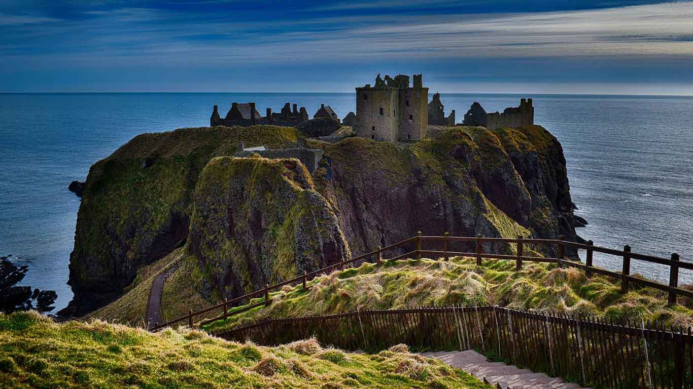 Dunnottar Castle in Stonehaven is a short 25 minute drive from Aberdeen