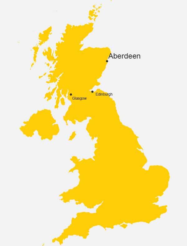 Aberdeen, Scotland, on the map