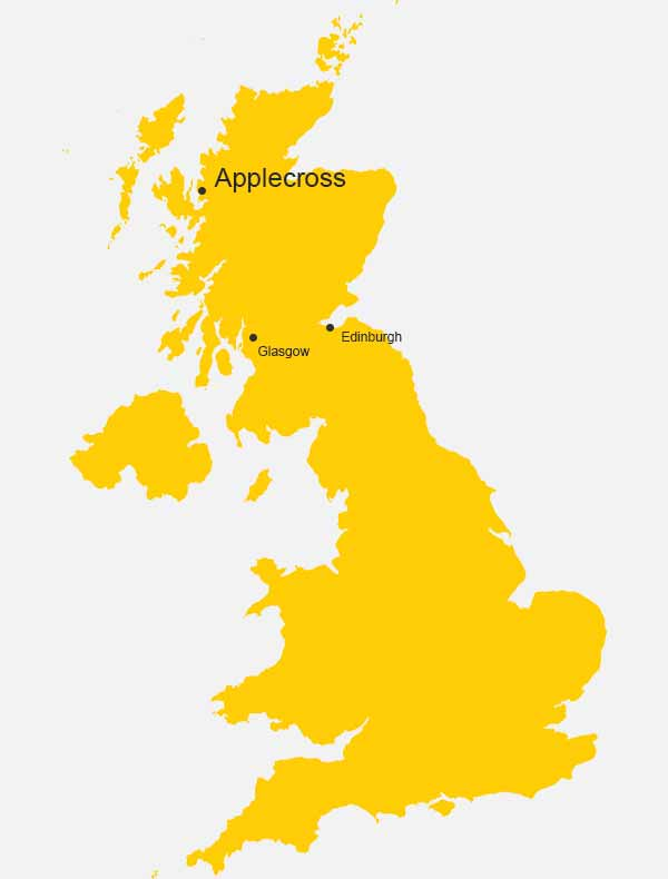 Applecross, Scotland, on the map