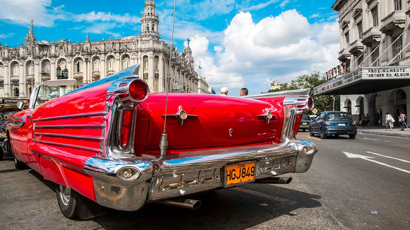 Cruising around Havana in a classic American Car