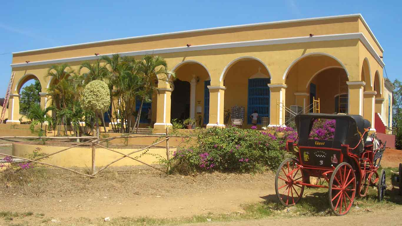 A colonial Hacienda in Trinidad, Cuba. In the 18th century Sugar Mills valley in Trinidad was the world's largest exporter of sugar. Sugar mills had on average 100 slave workers, and Trinidad had 10 schooners exclusively devoted to slave trade.