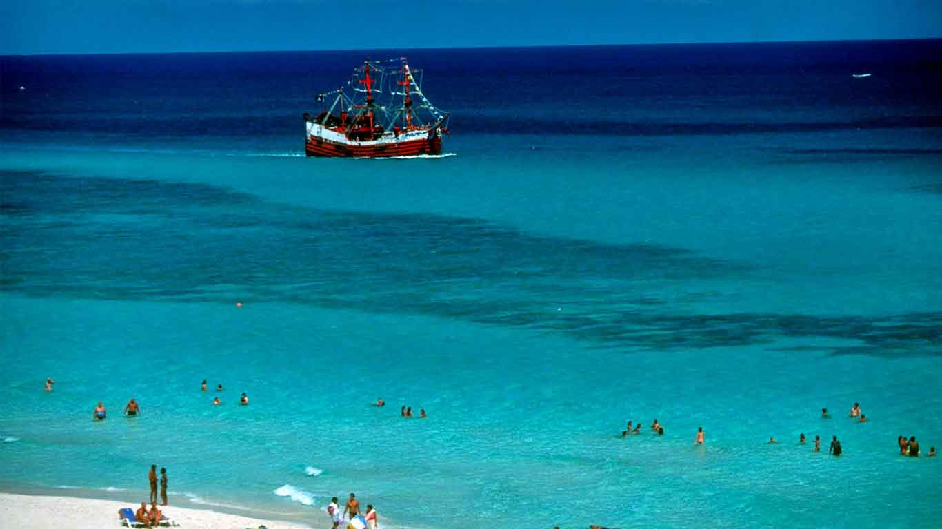 Colonial times galleon off the coast of Trinidad, Cuba