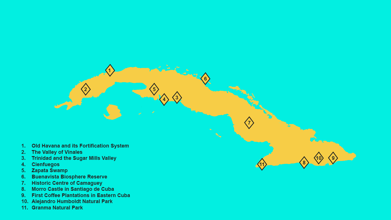 List of 11 UNESCO Heritage Sites in Cuba that can be turned into a travel itinerary. Map View