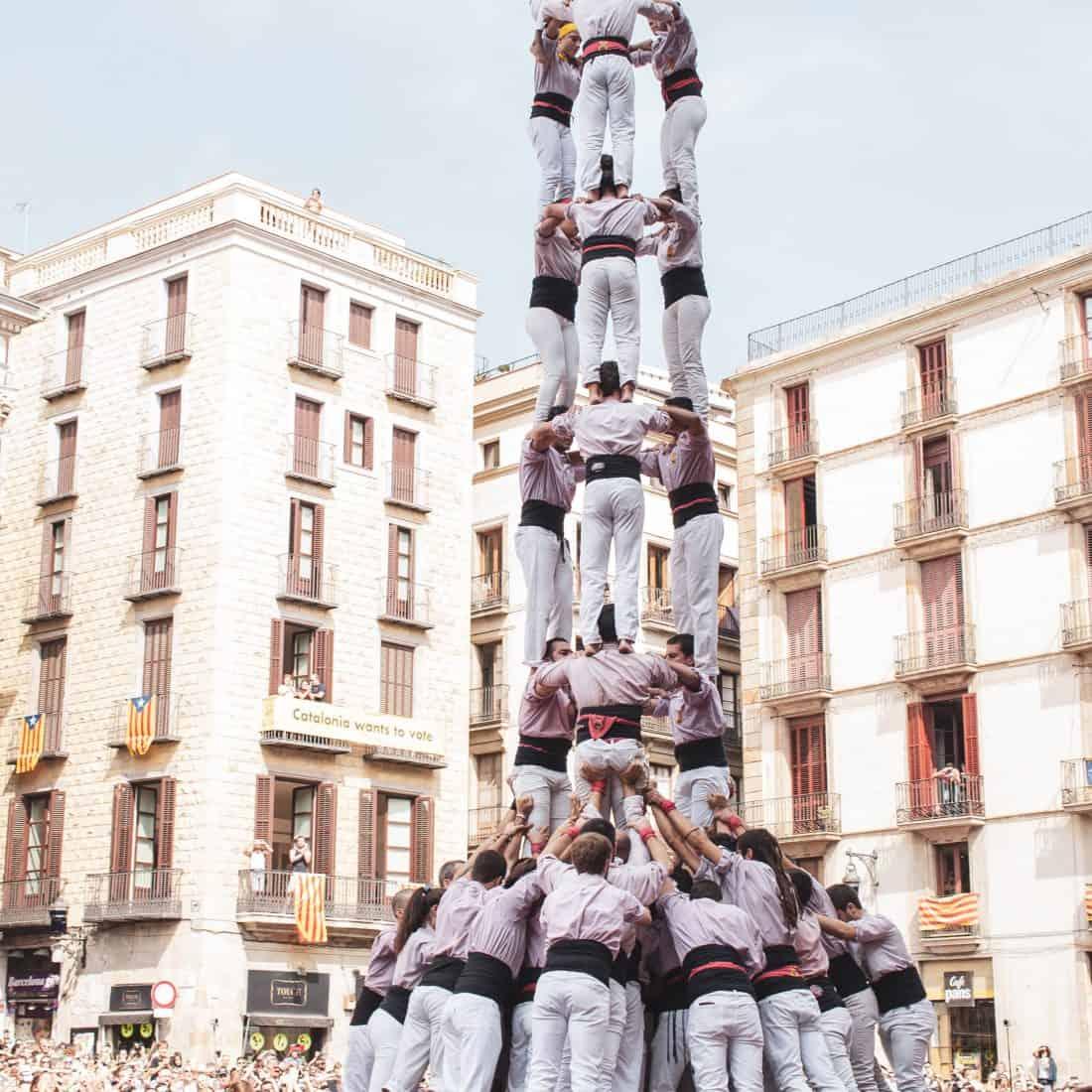 human tower event festivals Barcelona Catalonia